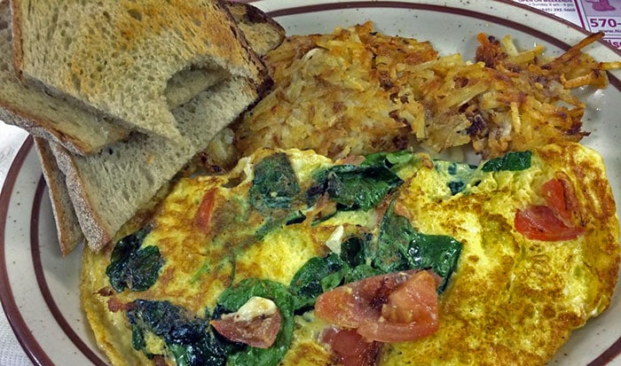 Feta, Tomato, Spinach Omelet