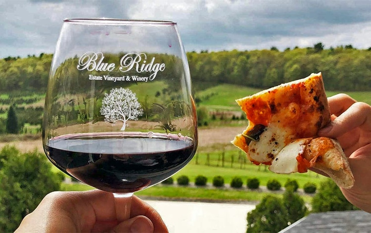 glass of red wine and slice of pizza on deck
