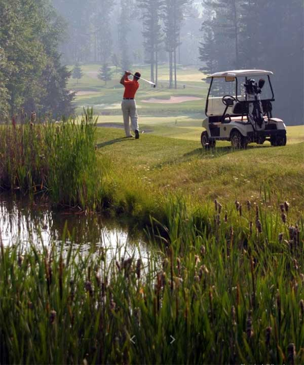 Country-Club-at-Woodloch-Springs-golfer-with-cart
