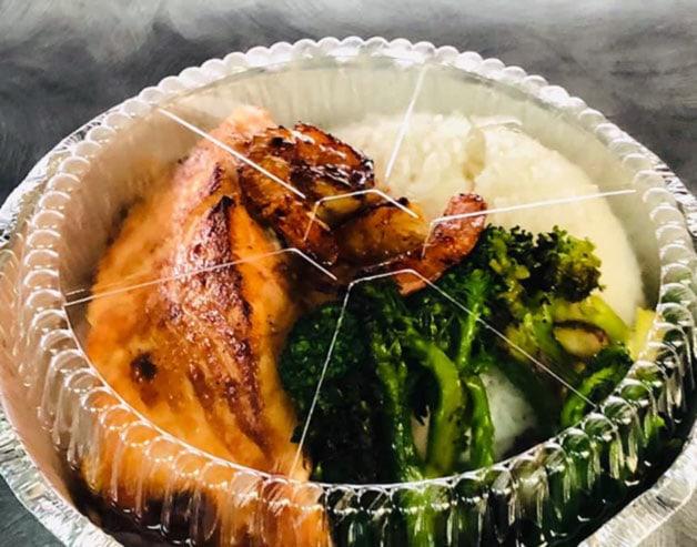 salmon and broccoli to go