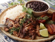 roast pork with rice and black beans
