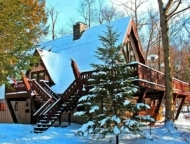 exterior house in the snow