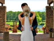 married couple on mount airy patio