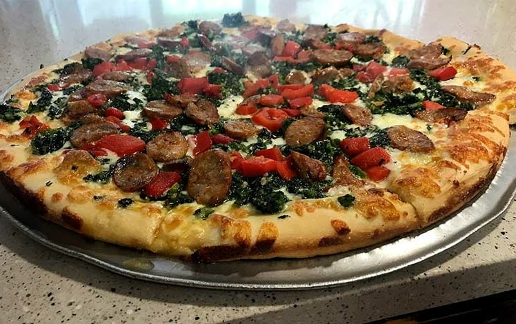 large sausage and peppers pizza pie