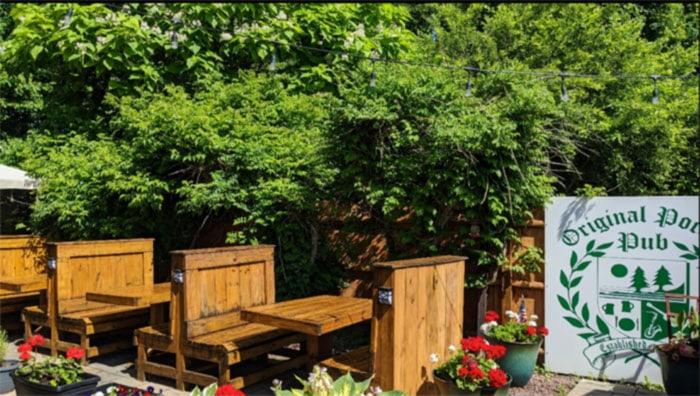 exterior booths in garden