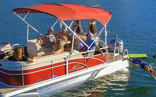 Pocono Action Sports group on boat on lake wallenpaupack