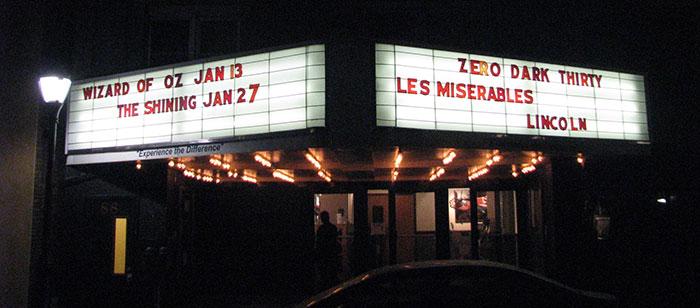 Pocono-Cinema-&-Cultural-Center-marquee-at-night