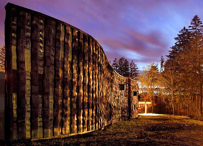 Pocono-Environmental-Education-Center-northwall-at-dusk