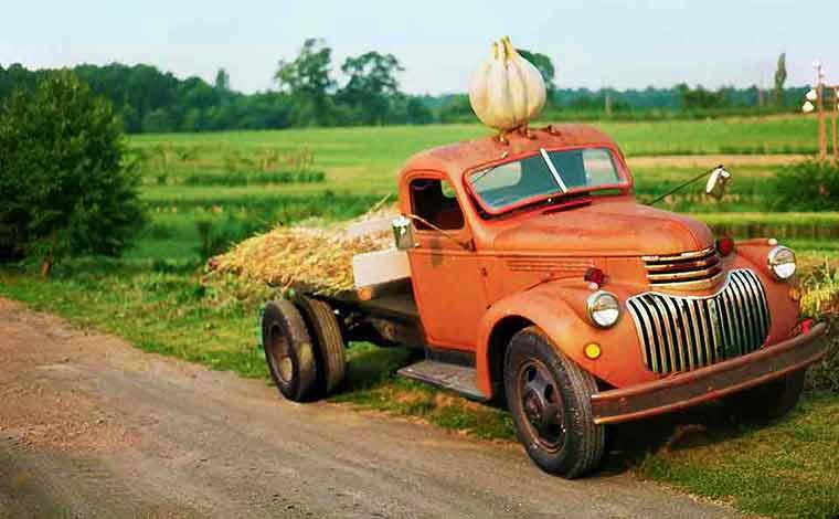 vintage orange truck
