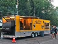 yellow bbq food truck