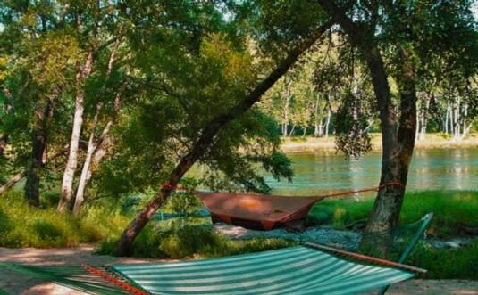 hammocks at the river bank
