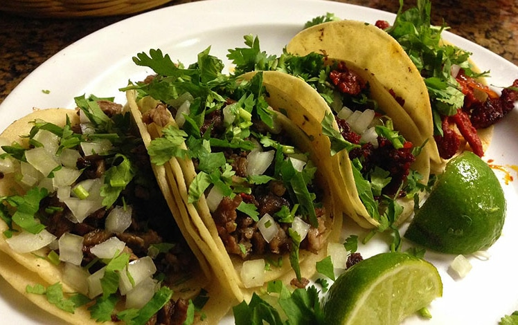 plate of beef tacos
