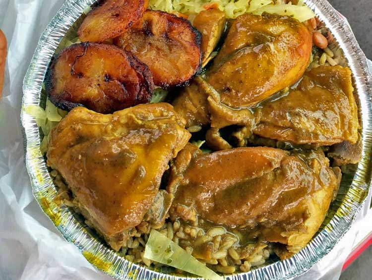 all carribbean chicken curry plate
