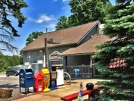 arnold's exterior and pine trees