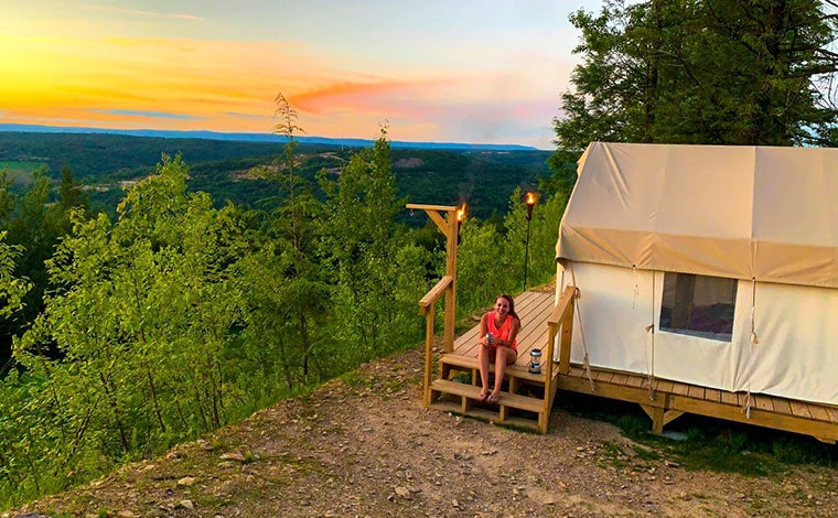 glamping site tent on mountain