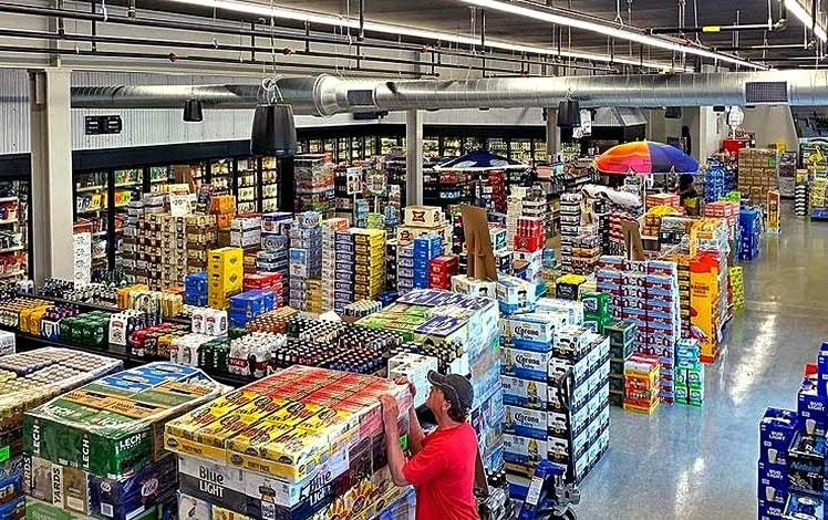 interior of store, cases of beer