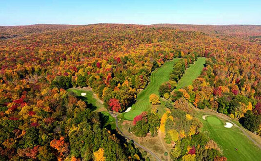 aerial view of the golf course in autumn