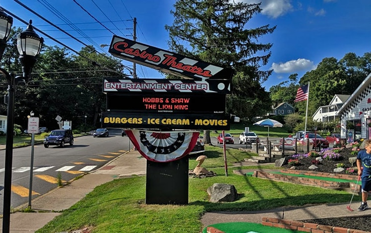 outdoor sign and mini golf area