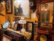 antique pictures and cuckoo clock