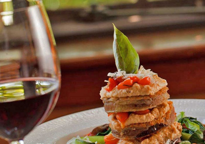 dining-room-at-settlers-inn-eggplant-stack-and-wine