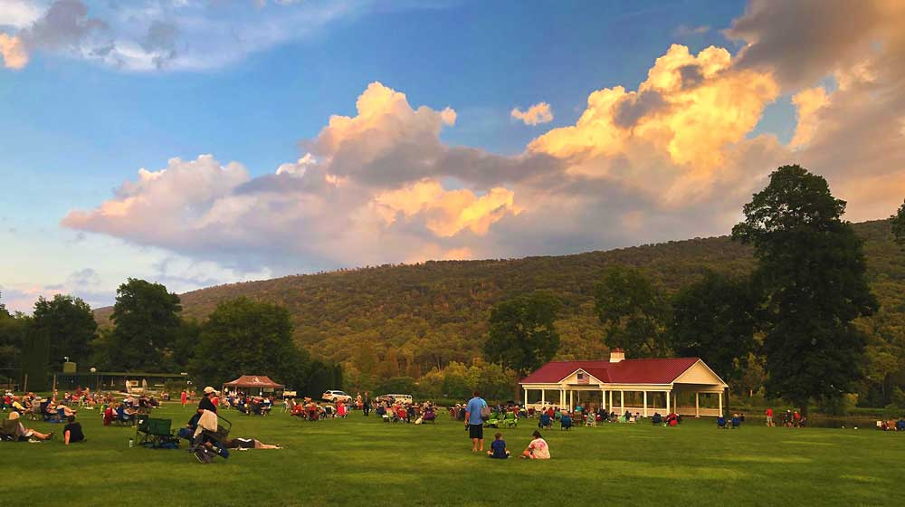 people on the grand lawn for concert