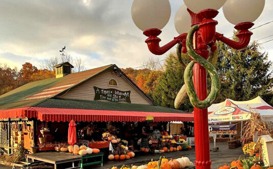 exterior of building and fresh pumpkins