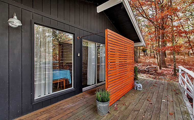 front deck and exterior of cabin
