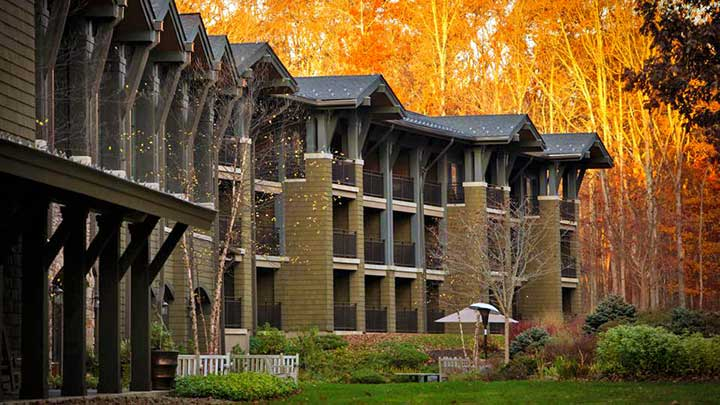 greenbriar and lakeview rooms with fall trees ablaze