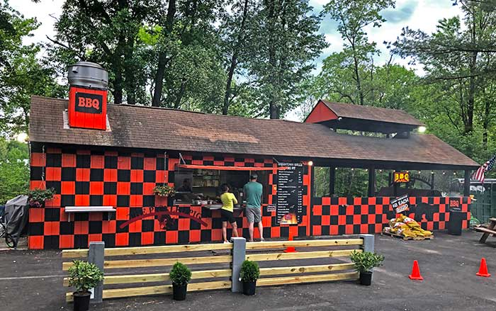 exterior of bbq building in back of restaurant