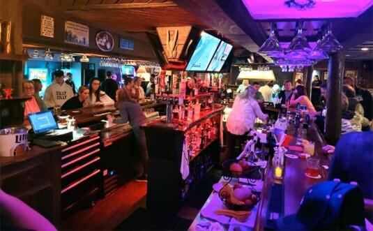 hammered steel tavern interior bar