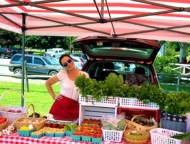hawley-farmers-market-farm-stand red white striped umbrella
