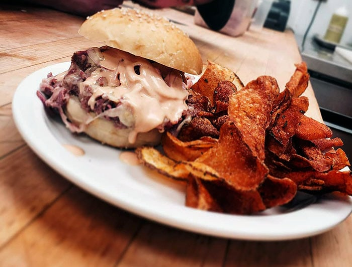 corned beef sandwich and homemade potato chips