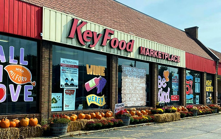 key food milford store exterior with pumpkins for sale