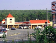store and parking lot