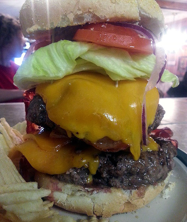double hamburger with cheese