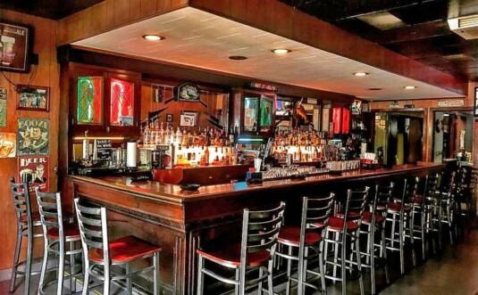 interior, bar and stools
