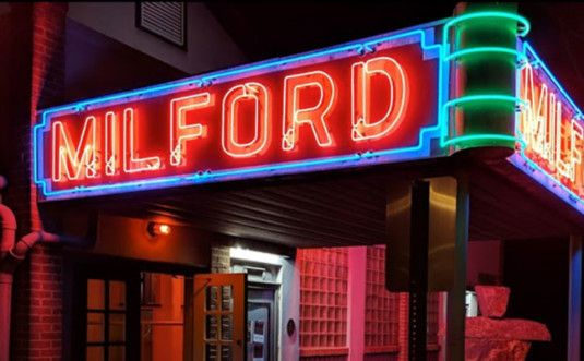 milford-theater-exterior neon sign