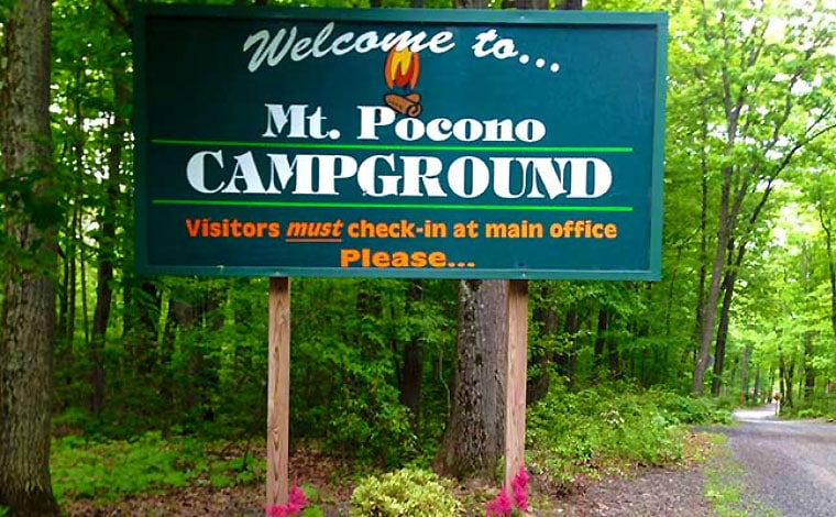 mount-pocono-Campground-Sign-at-entrance