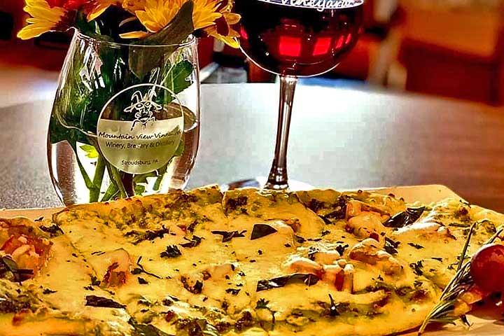 italian flatbread and wine