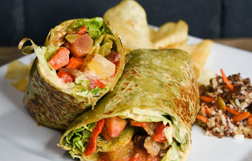 mustard seed cafe wrap with roasted vegetables