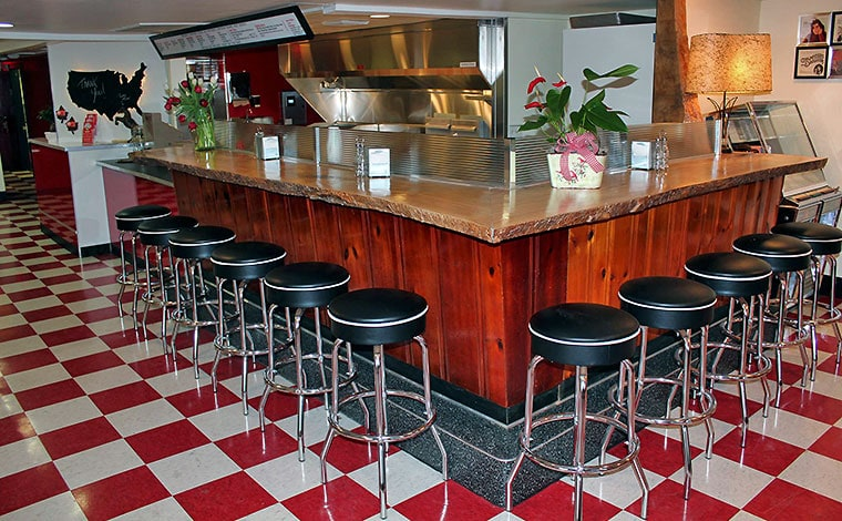 rootin-tootin-hot-dogs-counter with stools