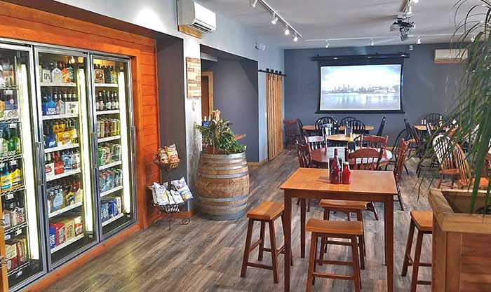 beer case and eating area