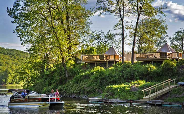 tent sites with decks overlooking river