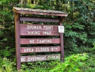 state hiking trail wooden sign