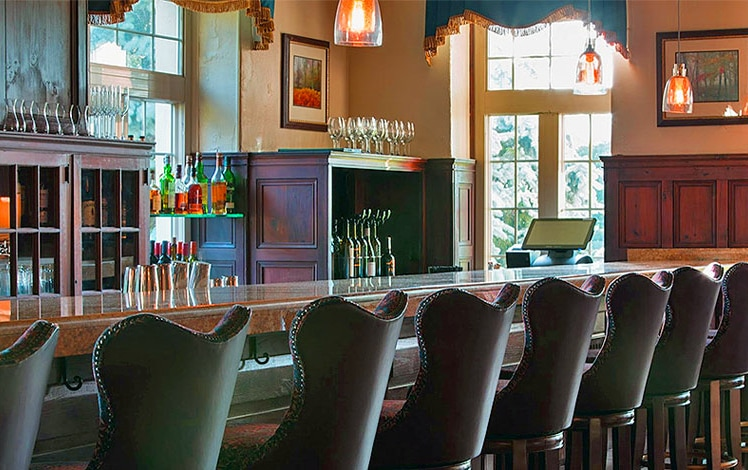 bar front and back and barstools