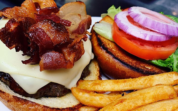 bacon burger and fries