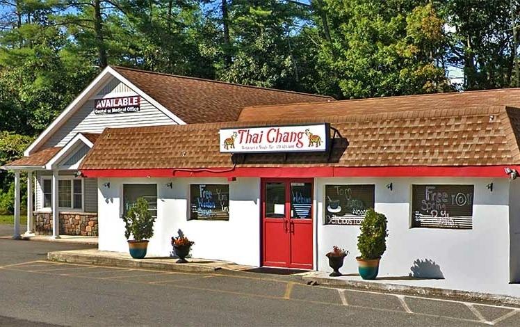 restaurant exterior white buildng red door