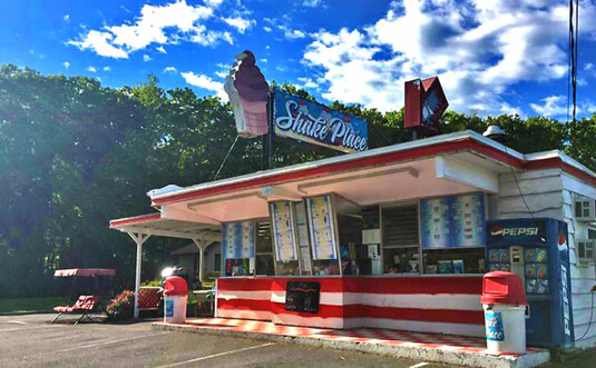 exterior 1960s ice cream stand