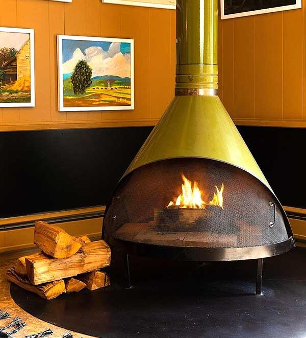 the lobby's malm fireplace