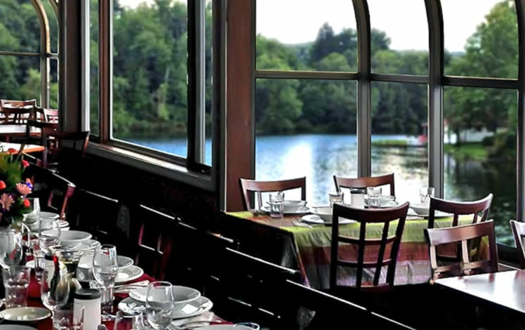 dining room tables overlooking the lake